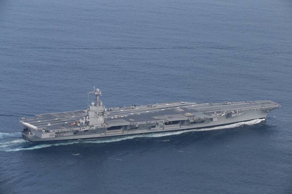 福特号航母是美国福特级航母首舰,目前已经服役,但海军仍然在对图片