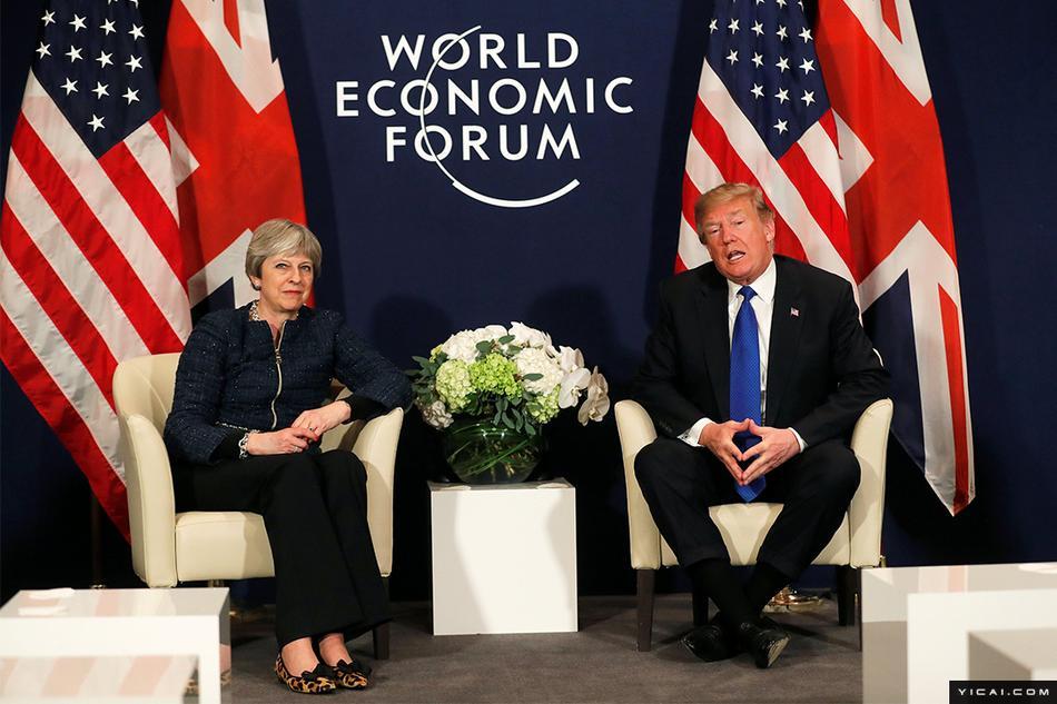 图为当地时间2018年1月25日,瑞士达沃斯,美国总统特朗普出席达