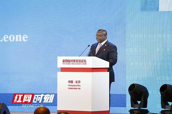 塞拉利昂总统 朱利叶斯·马达·比奥先生在开幕式上讲话。摄影/李长宏