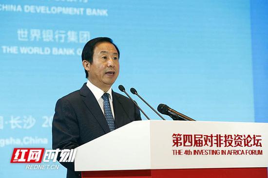 湖南省委副书记、省长许达哲在第四届对非投资论坛代表欢迎晚宴上致辞。