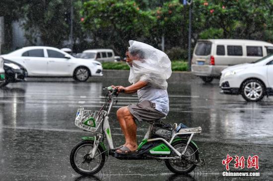 资料图:民众雨中出行。中新社记者 陈骥旻 摄