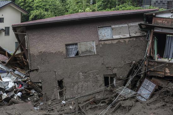 被冲毁的房屋