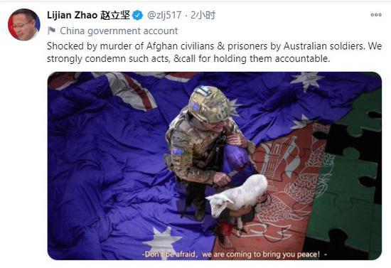 赵立坚在推特上发了个帖子,澳大利亚总理坐不住了图片