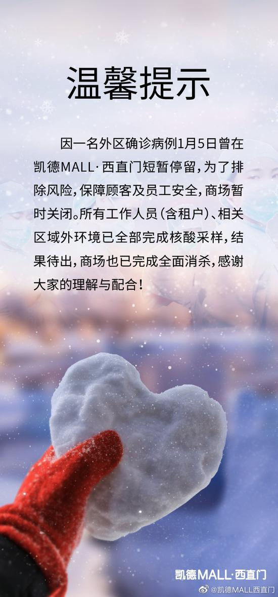 北京西直门凯德MALL暂时关闭:1月5日曾有确诊病例短暂停留图片