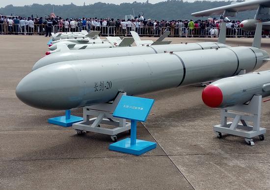 珠海航展上展示的长剑-20导弹。