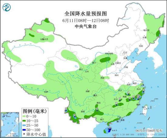 图1 全国降水量预报图(6月11日08时-12日08时)