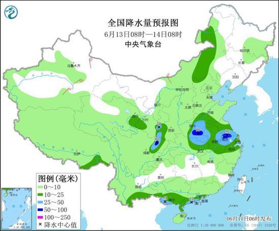 图3 全国降水量预报图(6月13日08时-14日08时)