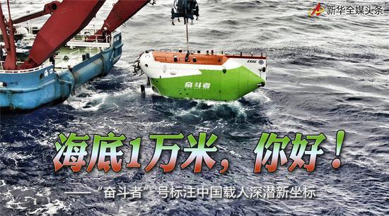 """海底1万米,你好!——""""奋斗者""""号标注中国载人深潜新坐标图片"""