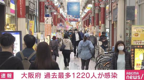 日本大阪连续6天新增确诊过千例 今日再达最大增幅