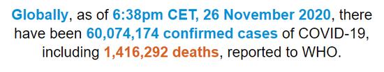 世卫组织:全球新冠肺炎确诊病例超过6007万例