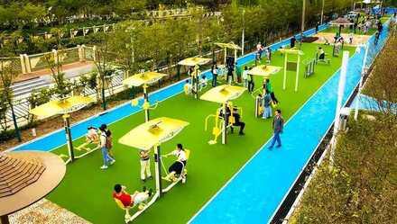 """上海建市民身边的场地,大宁公园的市民健身长廊成""""打卡点""""图片"""