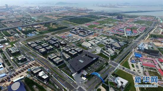 这是广东自贸区深圳前海蛇口片区一角(2016年4月19日摄)。