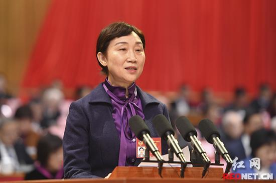 李微微代表政协湖南省第十一届委员会常务委员会作工作报告。