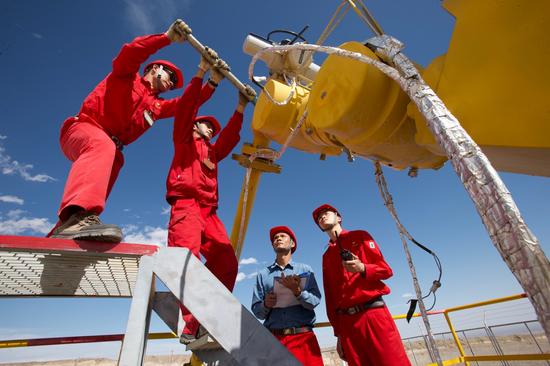 塔里木油田迪那油气开发部员工对站外单井进行维护保养