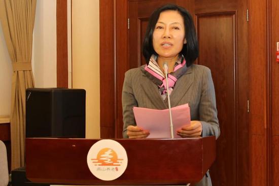 图为北京市老龄工作委员会办公室常务副主任王小娥致辞