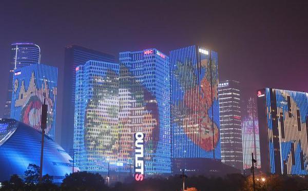浙江杭州上演亚洲美食节主题灯光秀