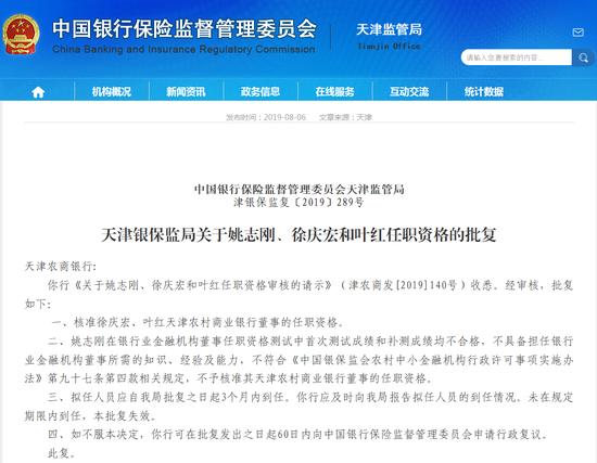前董事长自杀1年有余后 天津农商行将迎新任董事长