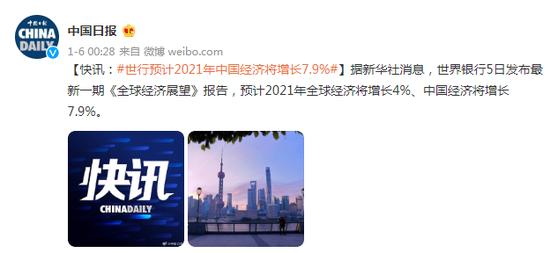 世行预计2021年中国经济将增长7.9%图片