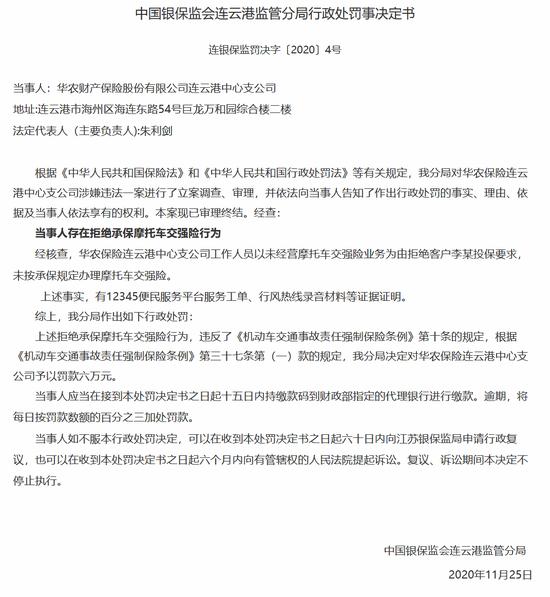 华农财险连云港中支被罚6万:拒绝承保摩托车交强险