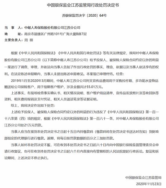 中邮人寿江苏分公司被罚21万:给予投保人合同约定外利益