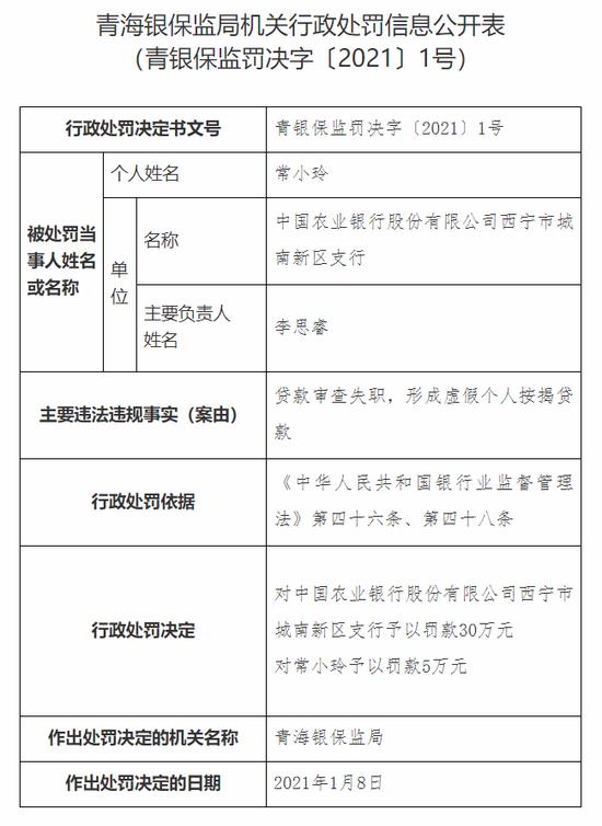 农行西宁城南新区支行被罚30万:贷款审查失职