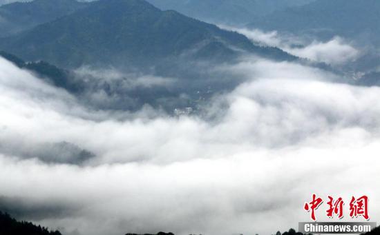 7月9日,在江西省遂川县大坑乡佛祖仙,缭绕的云雾在山谷之间不断涌动,美不胜收。