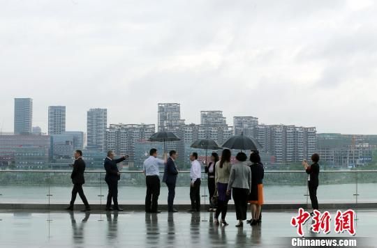 天府新区兴隆湖畔,每天都有前来考察、参观的人才。 王磊 摄