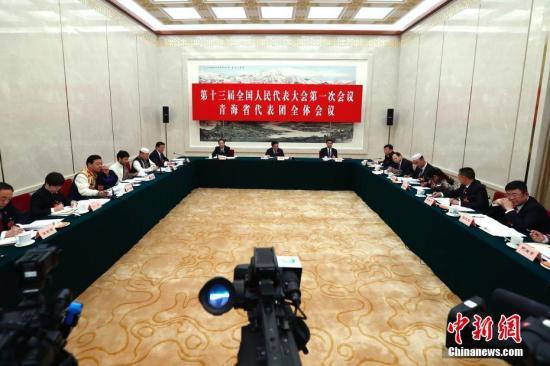 3月7日,十三届全国人大一次会议青海省代表团在北京举行全体会议,审议宪法修正案草案。 中新社记者 富田 摄