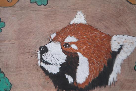 """90后彝族小伙耗时百余天用圆木片作画向云南小熊猫""""嘟嘟""""""""表白"""""""