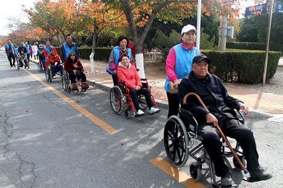 轮椅人士在志愿者帮助下游览