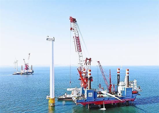 我国北方单体容量最大海上风电项目庄河海上风电场址IV1开工