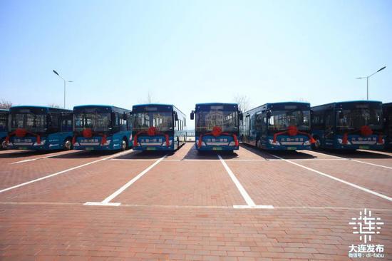 一排排崭新的新能源公交车一字排开,等待发车。