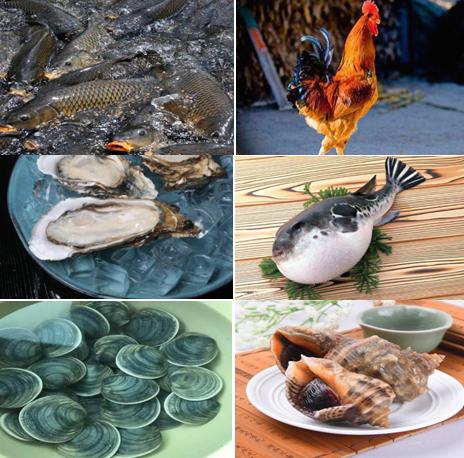 庄河特色食材以海鲜著称,还有大骨鸡等等丰富食材物产。