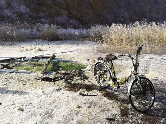 这辆黄色女式26自行车与殷大爷的遗体曾一同冻在这块荒地水塘的冰层下。