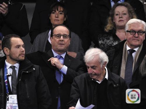 法国总统奥朗德(二排左)与德国外长施泰因迈尔一起观球。
