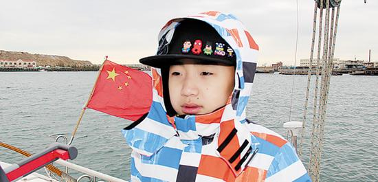 年仅11岁的刘博铖将随团队一起驾驶帆船环中国海。