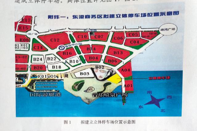 东港喷泉周边拟建大型立体停车场