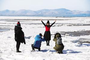 """如冰雕般的""""极地美景""""总会吸引一众摄影爱好者前来拍照。"""
