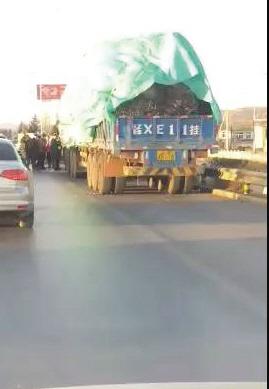 肇事大货车被交警部门拦截。