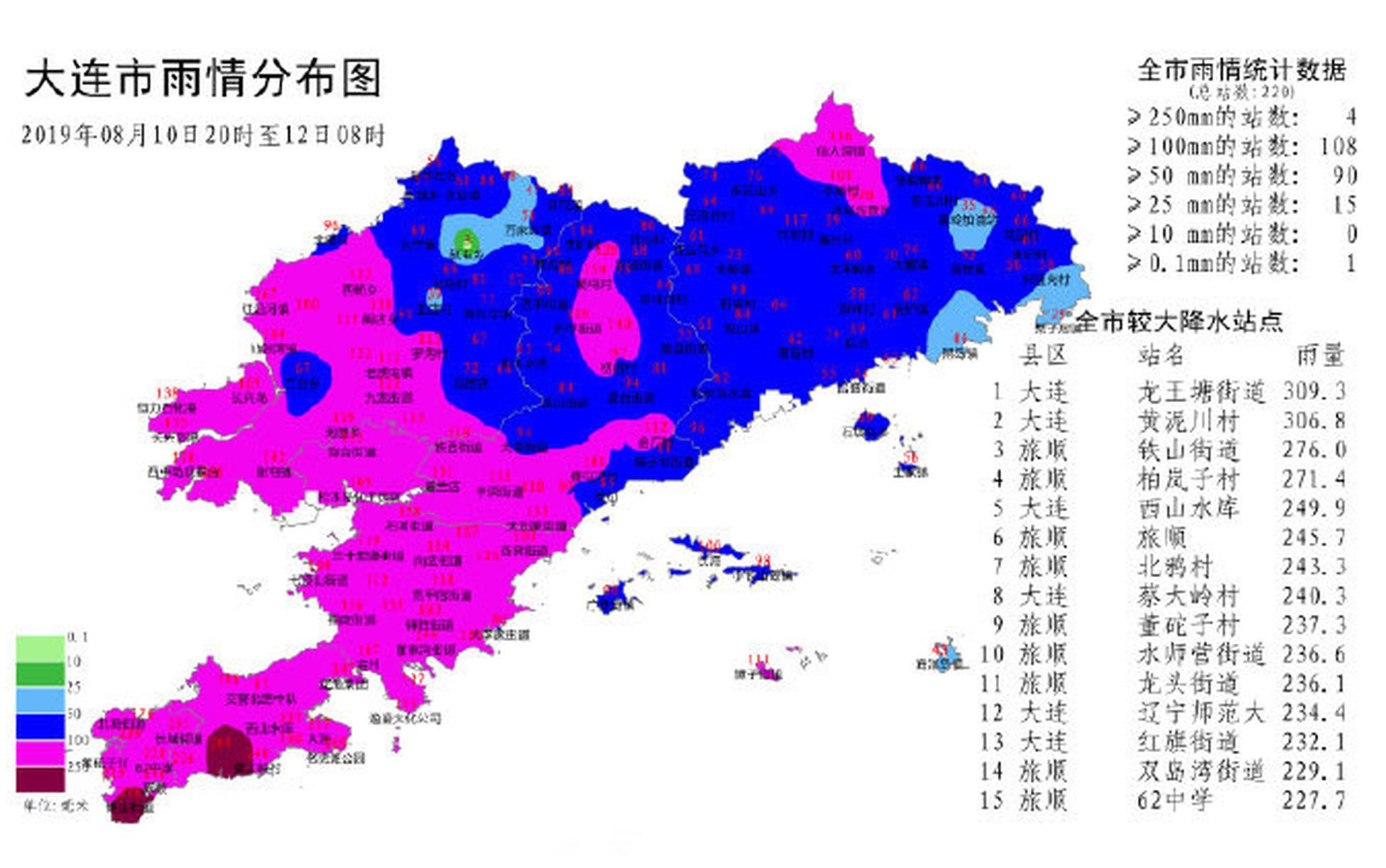 预计今日大连全区仍有小到中雨天气