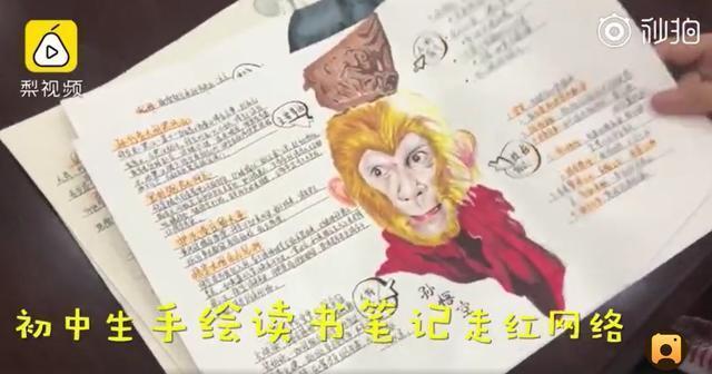 组图:初中生手绘名著读书笔记 才艺满分惊艳网友
