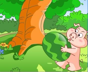 英语童话故事:小猪搬西瓜(图)