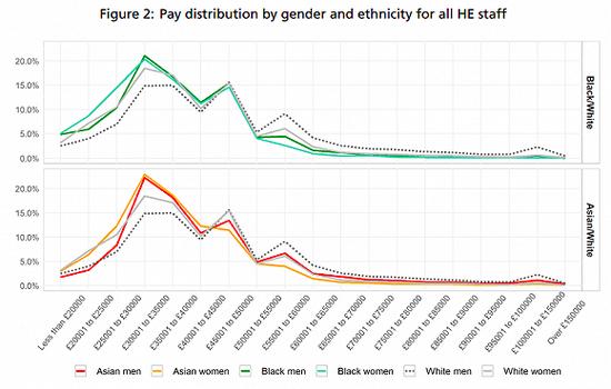 高等教育部门不同性别、种族教职工的不同薪酬水平