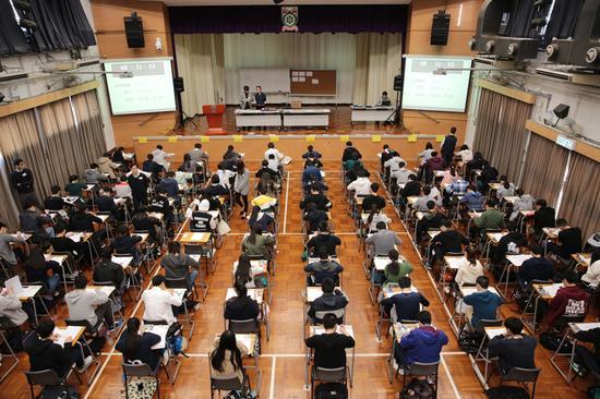 资料图:香港文凭试考试现场。图片来源于香港考试及评核局