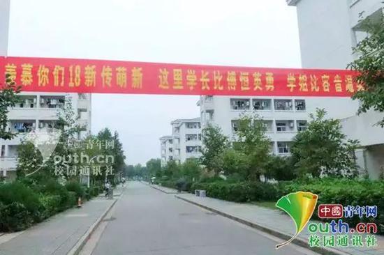 图为带有《延禧攻略》的迎新横幅。中国青年网通讯员 王嘉慧 摄