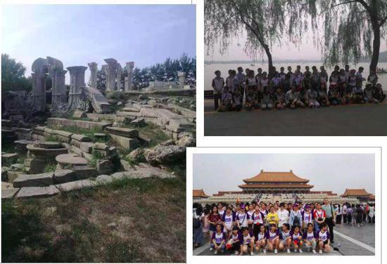 内江二中研学团游览北京部分景点合照。内江二中微信公众号截图