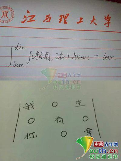 李宗蔚王淼分别用微积分和三阶矩阵表达爱意。受访者供图