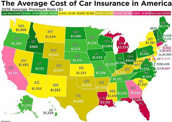 车险费用最高的十个州是: