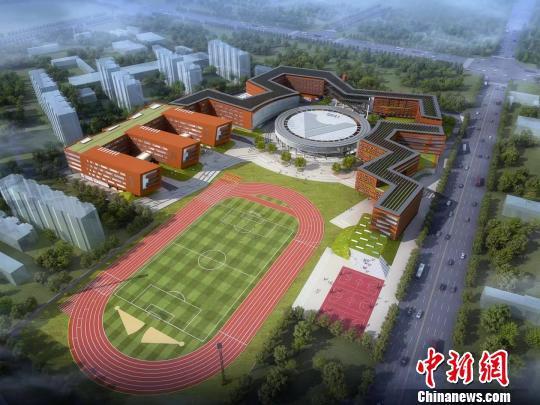 中国人民大学附属中小学大厂校区建筑效果图。