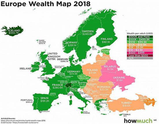 图解:到底哪国人最有钱?看看这张世界财富地图